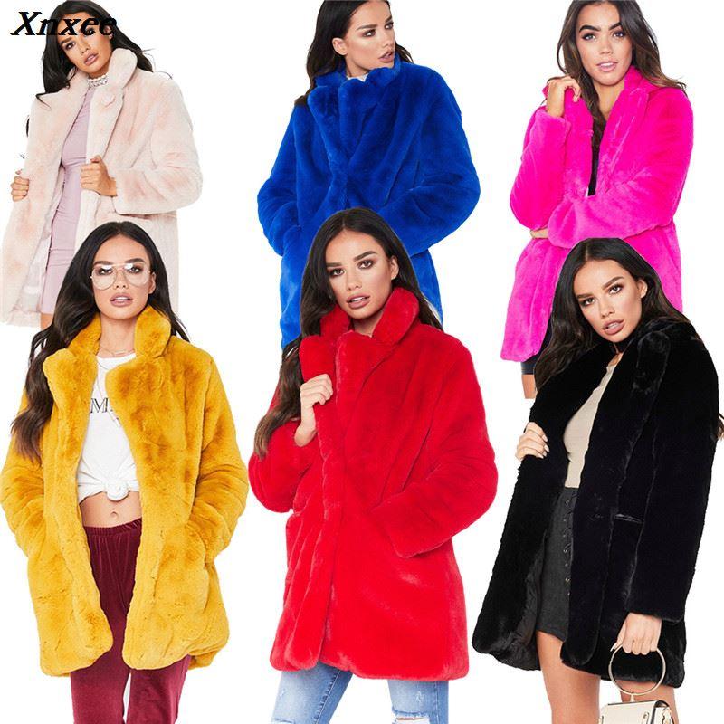 100% QualitäT 7 Farben Frauen Winter Verdicken Warme Faux Pelz Mäntel Outwear Damen Casual Feste Volle Hülse Lange Abschnitt Gefälschte Pelz Jacke Mantel