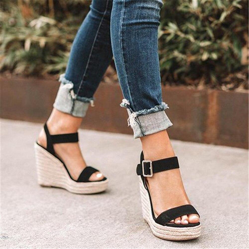 Heel Sandals Shoes Strap High-Wedges Women's Open-Toe Fashion Summer Retro Buckle Leopard