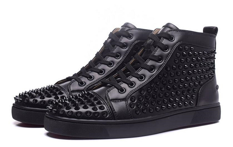 best service ec5b1 2c91d Luxury Red bottom Shoes Men Black Spikes Shoes High Top ...