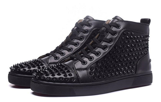 93a0dd1bd179 Luxury Red bottom Shoes Men Black Spikes Shoes High Top Fashion Designers  Shoes Brand Men Loafers Nightclub Rubber Men s Flats