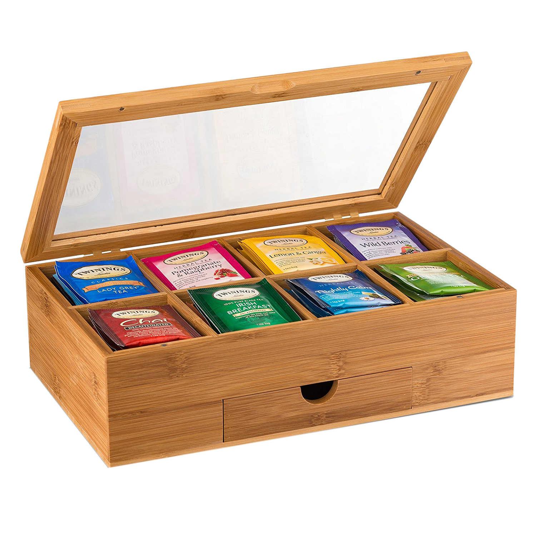Мешочек для хранения чая бамбуковая коробка для чая с маленький ящик 100% Натуральный Бамбуковый чайный комод-отличная идея подарка
