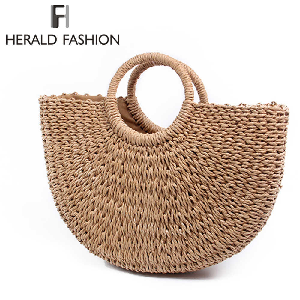Herald Fashion Summer Beach Bag Women Woven Handmade Rattan Straw Casual Tote Large Wristlet Travel Lady S Handbag