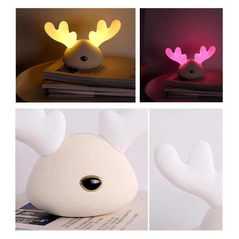 Cute Deer Pat Light Nightlight Silicone Led Charging Night Lights Colorful Atmosphere Bedside Lamp Kids Toy Gifts Room Decor S in Night Lights from Lights Lighting