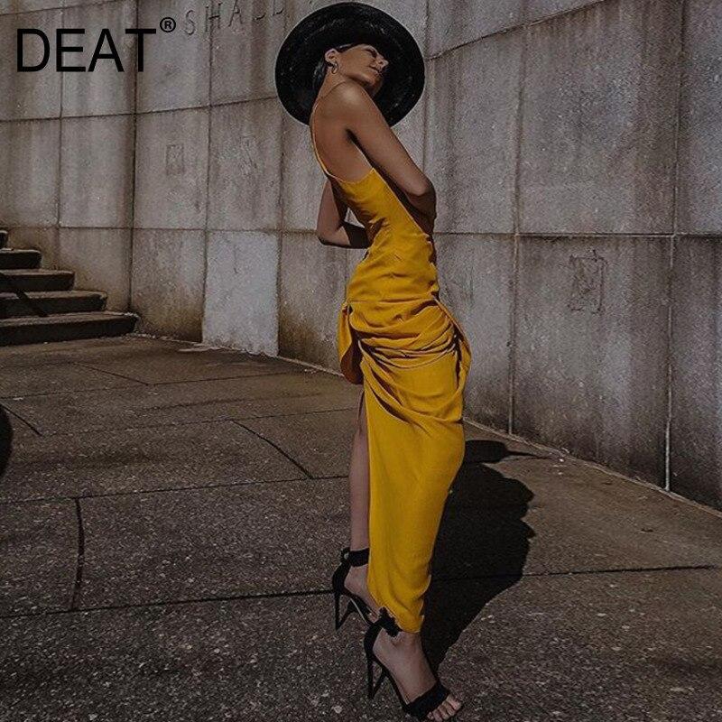 DEAT 2019 nouveau été mode femmes vêtements col en v sans manches jaune mince Sexy vacances femme Vestido WG29907L