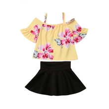 Toddler Girl Clothes Set Kids Outfits Girls Clothing Flower Print Off Shoulder T-shirt Skirt Kids Outfit Set Children Clothes kids toddler girl summer clothing set ruffle off shoulder t shirt top bow skirt tutu dress stripe baby clothes outfit
