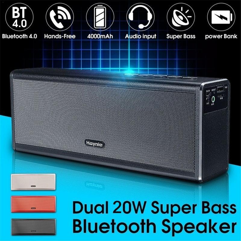 Métal double 20 W sans fil Bluetooth 4.0 HIFI stéréo Super haut-parleur de basse Rechargeable 4000 mAh batterie externe mains libres AUX haut-parleur