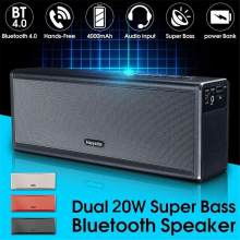 Logam Dual 20 W Nirkabel Bluetooth 4.0 HIFI Super Bass Stereo 4000 M Ah Isi Ulang Power Bank Handfree AUX Suara speaker(China)