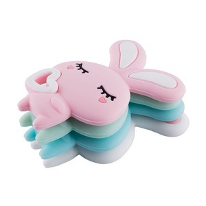 Image 1 - عضاضة حيوانات من السيليكون مكونة من 5 قطع بدلاية على شكل أرنب رضع يمكنك صنعها بنفسك مشابك مصاصة للأطفال مصنوعة من السيليكون لألعاب الأطفال على شكل أرنب للمضغ هدية للأطفال