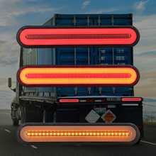 Пара светодиодный прицеп грузовика стоп водонепроницаемый Неон Halo Кольцо хвост и тормозной Стоп Включите свет последовательного течет сигнал свет лампы