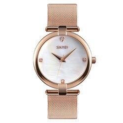 SKMEi кварцевые женские часы из нержавеющей стали водостойкие деловые часы 9177, розовое золото
