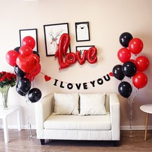 20PCS/lot Red Black Latex Balloons 5pcs 18inch Foil Heart Balloon For Wedding Valentines Day Birthday Party Decoration