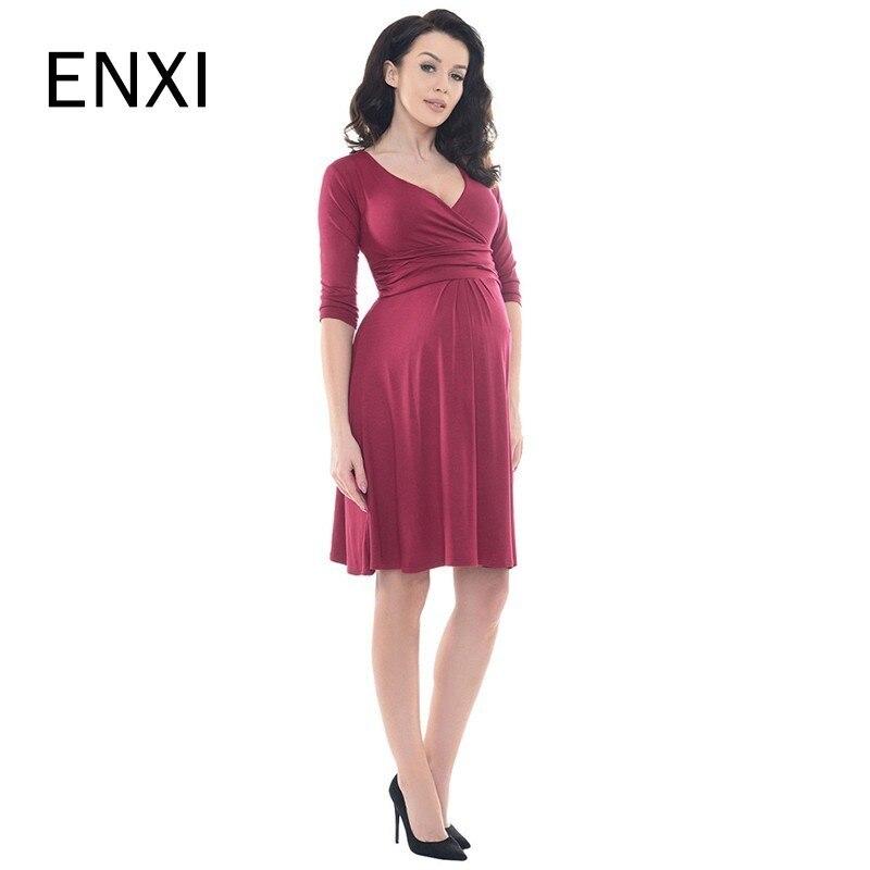 ENXI 2019 New V-Neck Maternity Dress Clothing Summer Half Sleeve Clothes For Pregnant Women Maternity Wear Maternity Dresses