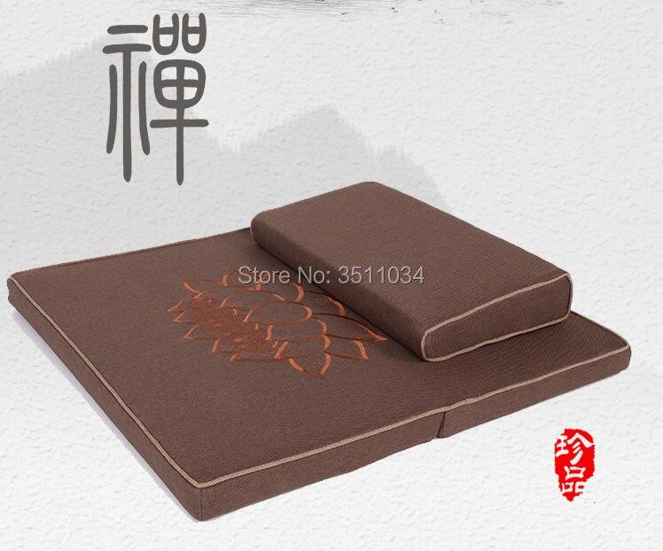 Zafu e Zabuton Conjunto de 2 Novo Peças Quadrado 70 80cm Natural Coconut Palm Meditação Almofada Piso Lótus 60 –