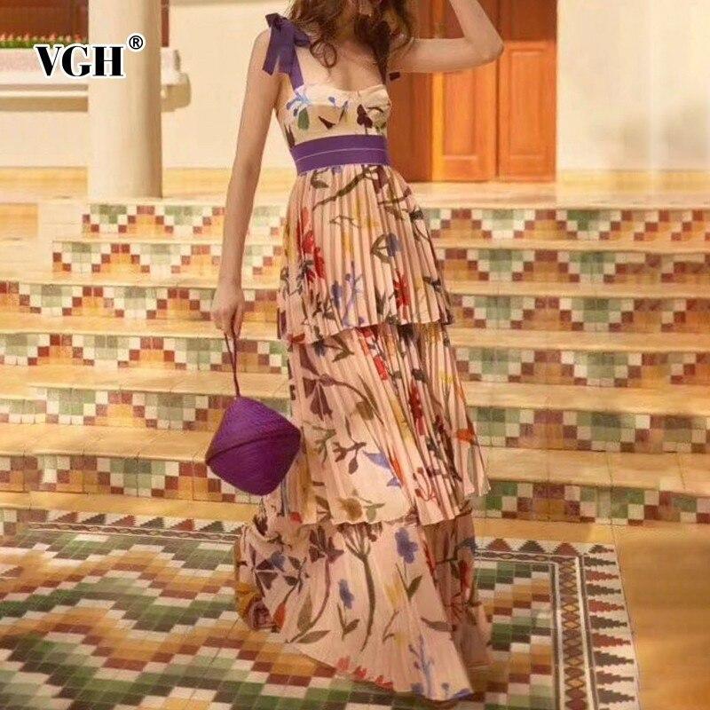 VGH printemps décontracté Stap robe Bandage arc impression pli épaule dos nu femmes mode vêtements 2019 nouvelle marée