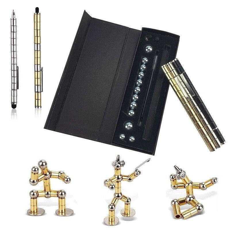Haute qualité Focus modulaire magique magnétique bricolage capacité stylo à bille Tri-Spinner plein métal Cube outil jouet stylo à bille 03655