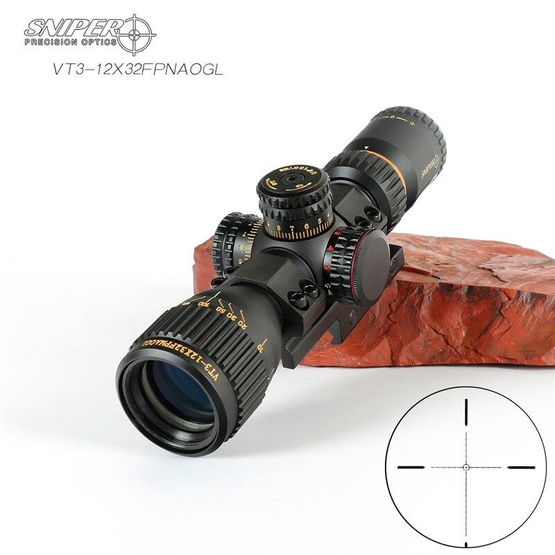 VT 3-12X32 ATIRADOR FFP Caça Compacto Mira Óptica Riflescope Tático llluminate caça optics Vidro Gravado Retículo Vermelho e Verde