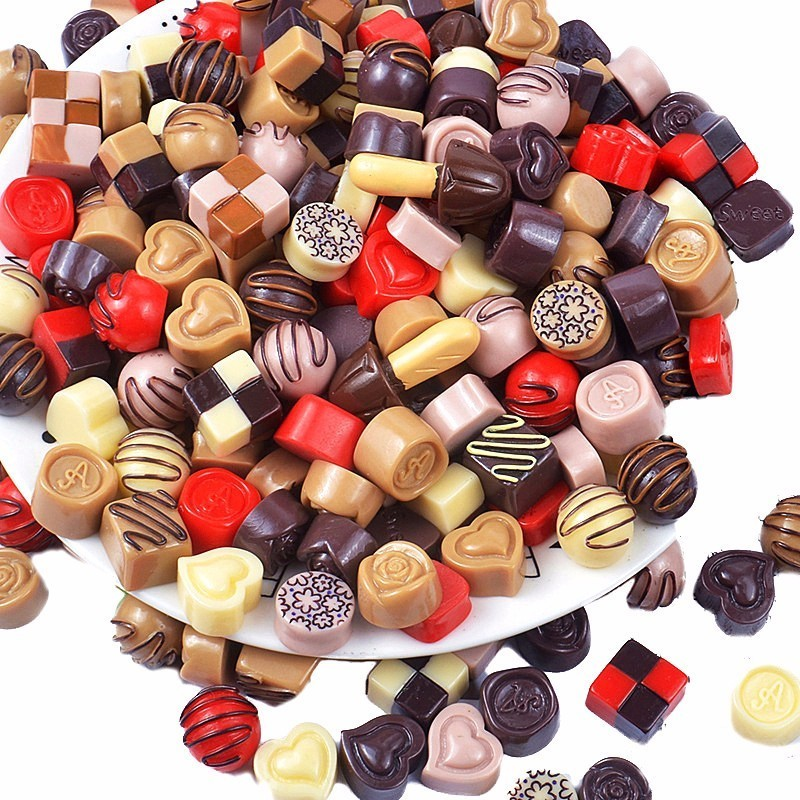 10pc Artificial Chocolates Sugar Candy Fake Food Ornament Craft Decor Miniature Dollhouse Home Wedding Decoration DIY Accessory