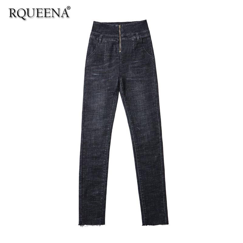 Rqueena 2019 femmes Jeans noir/bleu/gris femmes à la mode Skinny grande taille Denim Jeans pantalons pour femmes avec taille haute JE003