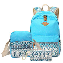 цены на Canvas 3pcs /Set Backpack Women School Backpacks Bag For Teenage Girls Vintage Laptop Rucksack Bagpack Female Schoolbag Mochila  в интернет-магазинах