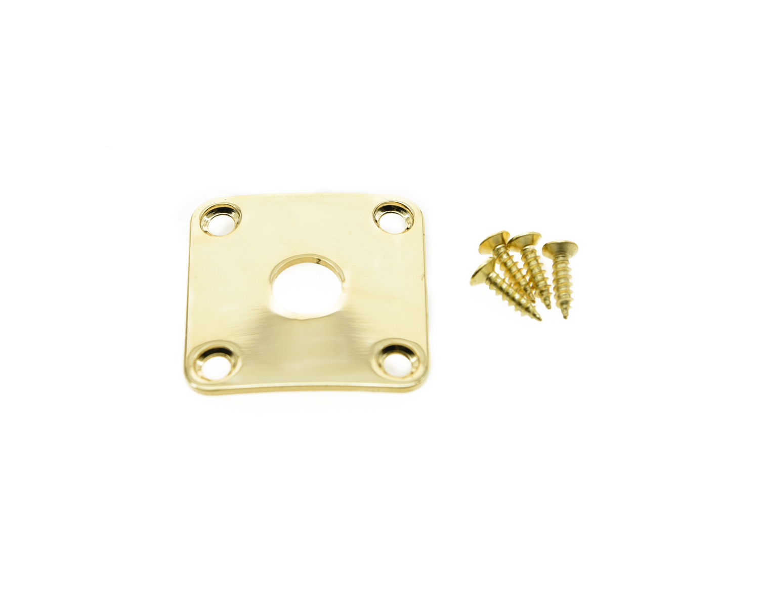 NICKEL METAL JACK PLATE FOR GIBSON LES PAUL GUITAR SQUARE CURVED W//SCREWS *NEW*