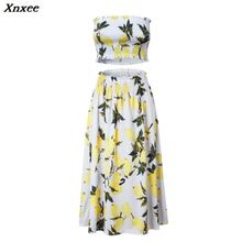 Women fold print 2 piece set summer for female women tube tops crop top two skirt sexy backless