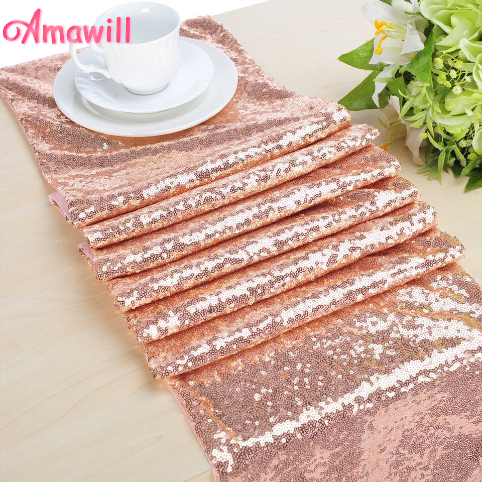 Amawill Rose Gold Sequin Tablecloth Glitter Gold Sequin Table Cloth For Birthday Bachelorette Party Wedding Decoration 75D