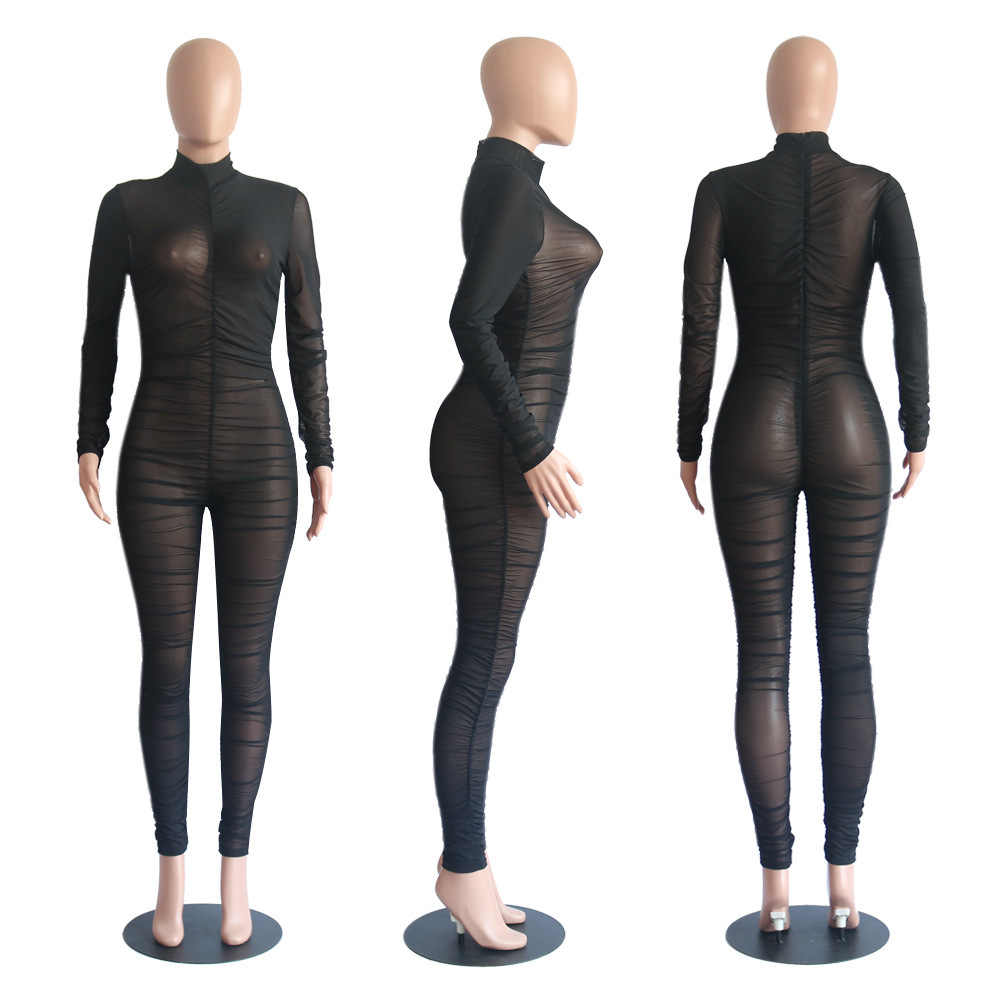 Sexy See Through Mesh Jumpsuit Elastische Lange Broek Bodycon Rompertjes Night Out Outfits Clubwears