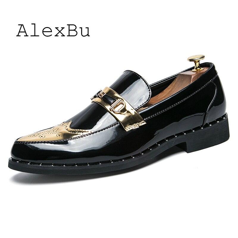 AlexBu 2019 mocassins en cuir homme chaussures en cuir chaussures habillées rétro de luxe marque de mode mocassins brevetés hommes en cuir chaussures décontractées