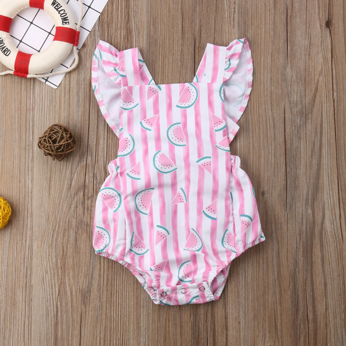 Newborn Infant Baby Girls Kid Striped   Rompers   Clothes Playsuit Girls Watermelon Jumpsuit