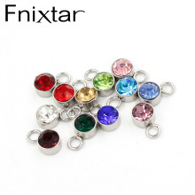 Fnixtar 12 Birthstone Charms Round 6mm Rhinestones Charms DIY Bracelet Necklace Stainless Steel Pendant 12piece/lot(China)