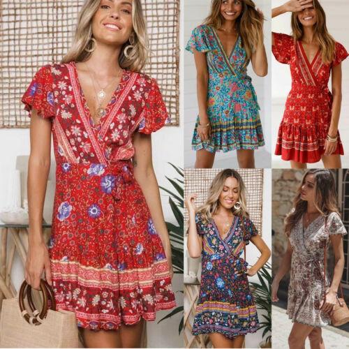 5235a9de15ee 2019 Vintage Dress Women Holiday Boho Floral V-Neck Short Sleeve Mini Dress  Party Summer