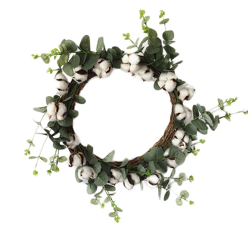 TOPATY 26cm Simulation Dry Cotton Wreath Door Ring Christmas Decoration Garland For Home Door Party Decoration