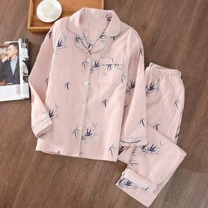 Image 3 - Style chinois Couple Pyjamas hommes et femmes 100% coton gaze à manches longues pyjama ensemble bambou Pijama Mujer femmes Pyjamas 2 pièces