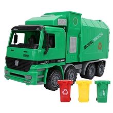 Kids Simulation Inertia Garbage Truck Sanitation Car Model Toys With Three Trash Diecast Toys for Children Puzzle Toy
