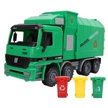 Symulacja bezwładności dzieci śmieciarka sanitarne zabawki modele samochodów z trzema kosza Diecast zabawki dla Puzzle dla dzieci zabawki