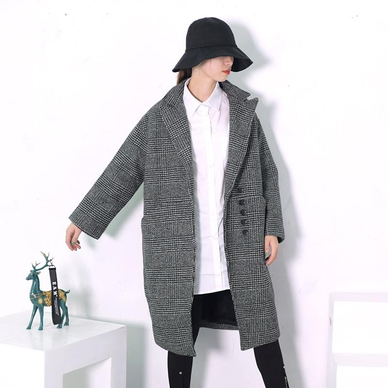 Plaid De 2019 Revers Mode eam Femmes Noir Unique Longues Printemps Gray Poitrine Manches Manteau Wollen Lâche Nouveau Pardessus Hiver Chaud Grand pAx4n8