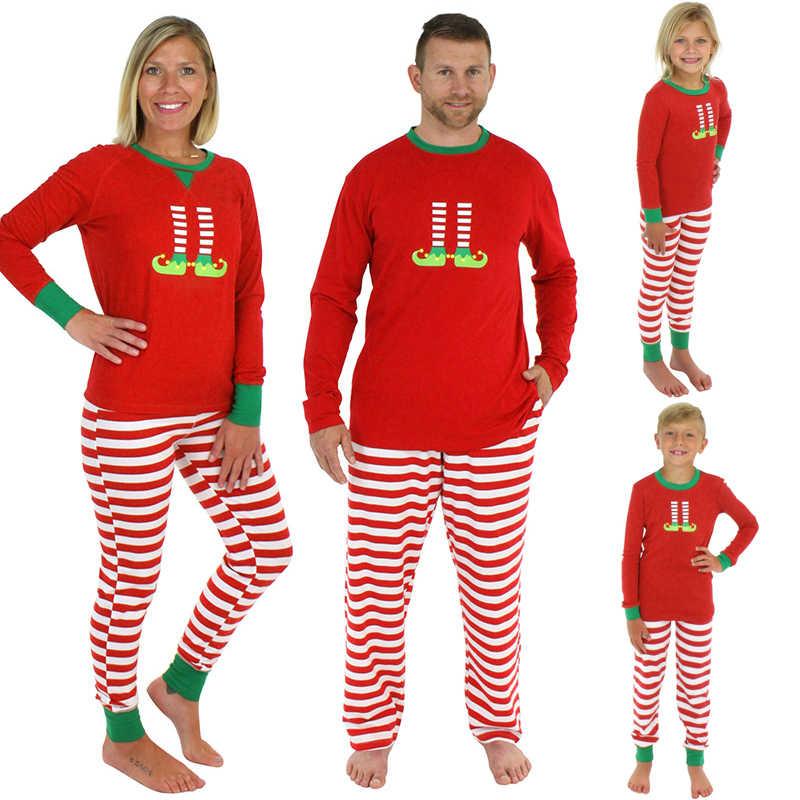 e03cdecd72 Familia juego ropa de Navidad de 2019 conjuntos de pijamas de manga larga  Camiseta pantalones de