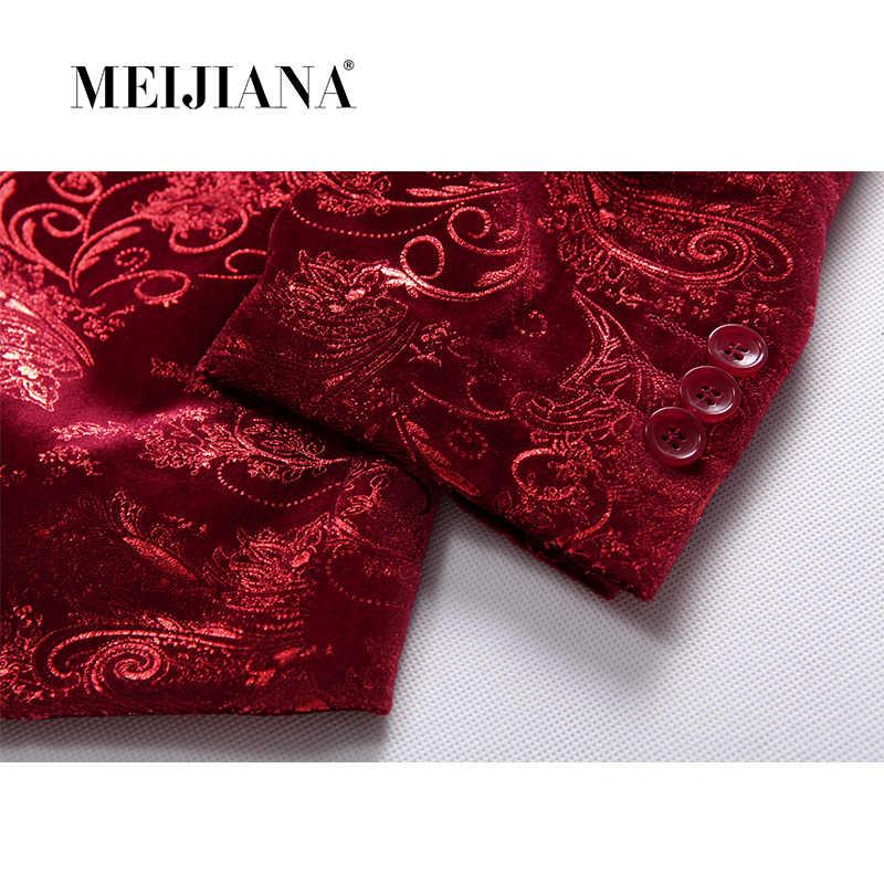 פרח 2018 טרייל MEIJIANA ערב חתונה שמלת חליפת השושבינים יין זכר אדום מעיל הדפסת Masculino תלבושות המפלגה בלייזר