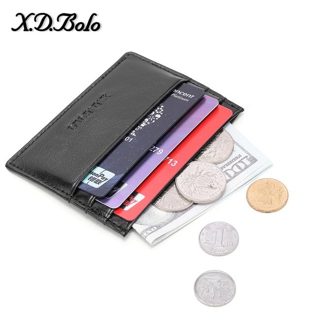 X D BOLO de cuero genuino de los hombres de la carpeta de la tarjeta de crédito titular de la