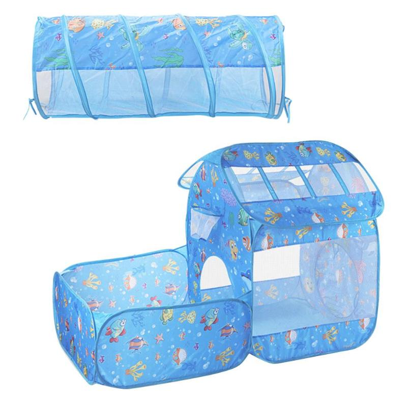 2 in 1 Set Foldable Tent Kids Crawling Tunnel Play Tents Kids Outdoor Ocean Ball Pool Children Tent Game Toys For Kids