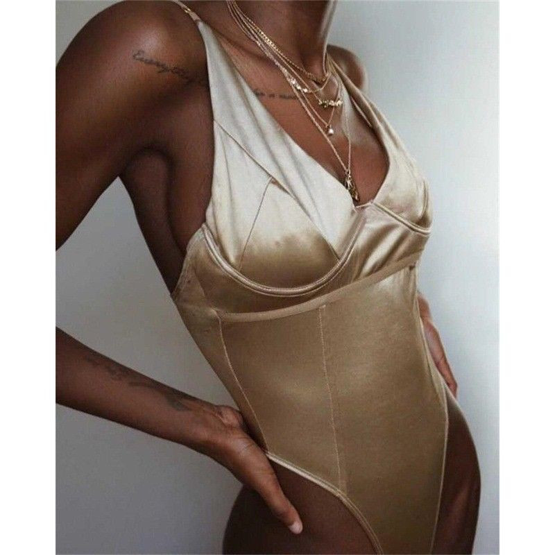 HIRIGIN Sleeveless Lace Nightwear Bodysuit Stretch Leotard Backless Lady Jumpsuit