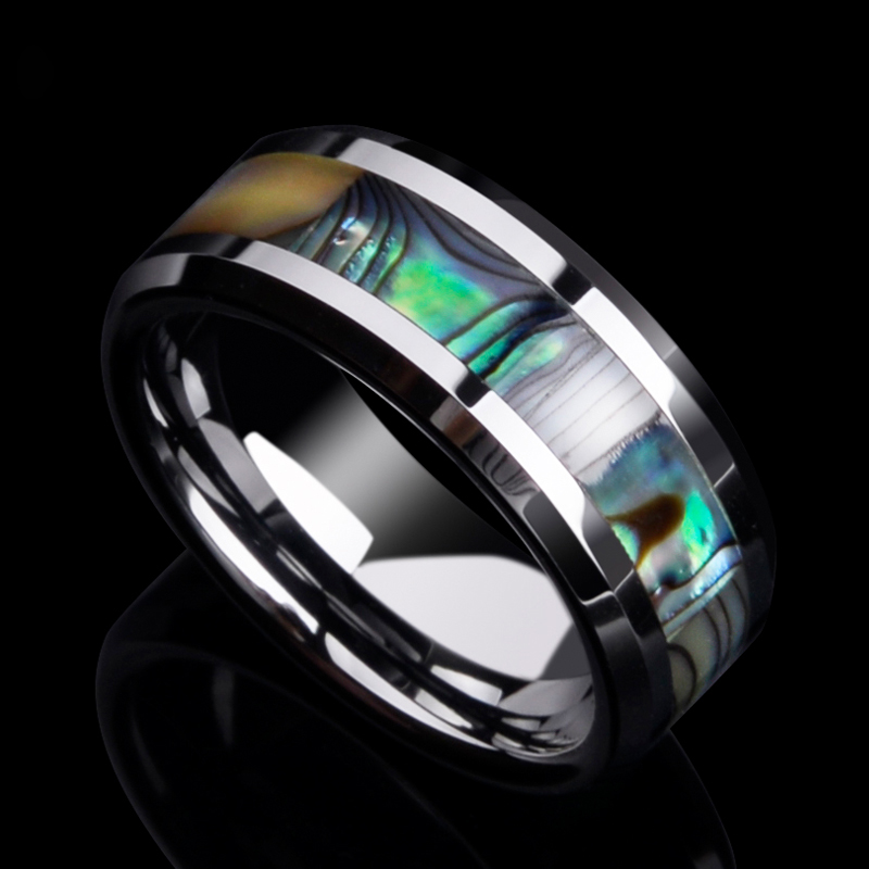 100% New 8mm Width Tungsten Wedding Band Rings with Colorful Mother of Pearl inlay High Polished for Woman Man Size 7 13