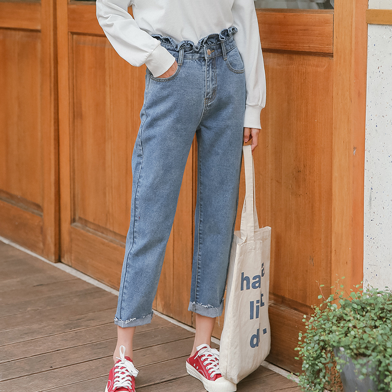 New 2019 Fashion Spring  High Waist Mom Female Boyfriend Jeans For Women Trousers Pants Denim Jeans Woman 3160#