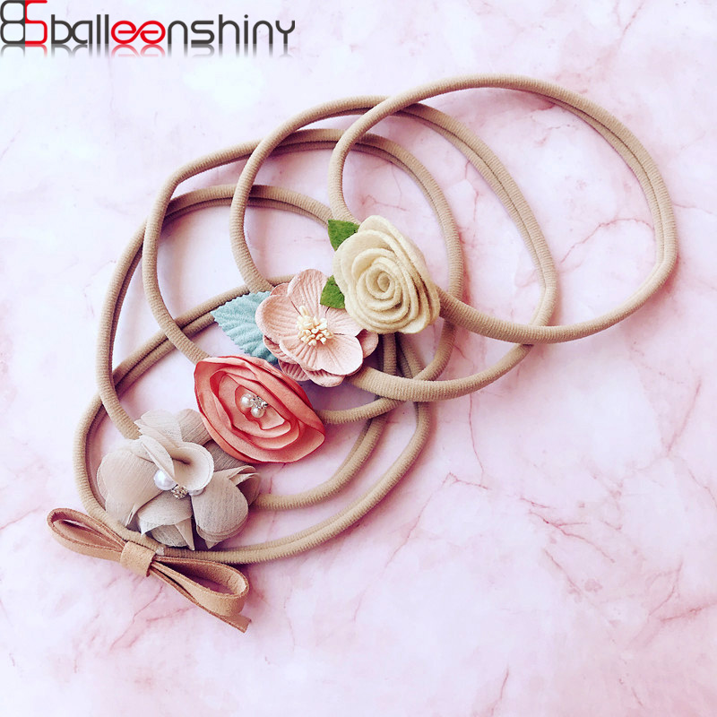 BalleenShiny 5pcs/set Newborn Baby Flower Headband Infant Girls Bowknot Elastic Head Band Princesses Headwear Accessories Gifts