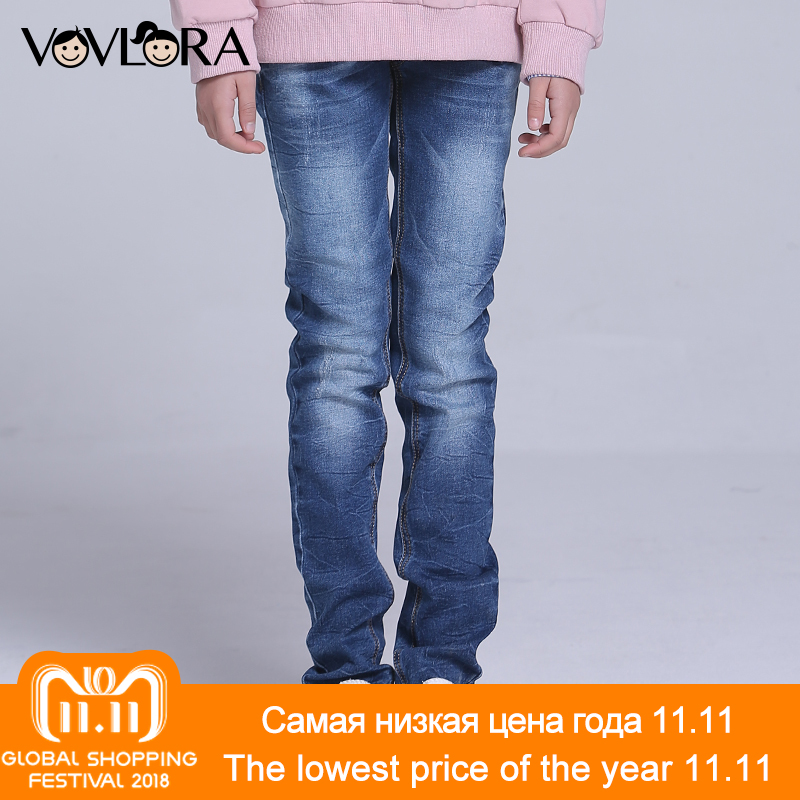 Kids Jeans Pants Straight Enzyme Wash Girl Jeans Trousers Mid Casual Denim Children Clothing Spring 2018 Size 9 10 11 12 13 14 Y afs jeep autumn jeans mens straight denim trousers loose plus size 42 cowboy jeans male man clothing men casual botton page 2