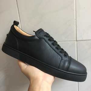 clandgz Black leather Red bottom For Man Sneakers casual 50d3cba99eed
