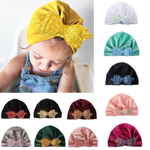096366e892a 0 4 Years Fashion Newborn Toddler Kids Baby Boy Girl Turban Velvet Bowknot  Sequin Beanie Hat Winter Cap Cut Hats-in Hats   Caps from Mother   Kids on  ...