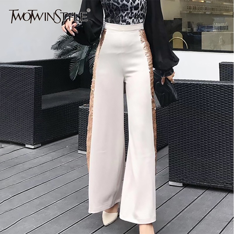 TWOTWINSTYLE Sequined Patchwork Women   Pant   High Waist Slim   Wide     Leg     Pants   Female Elegant 2019 Fashion Spring Korean New
