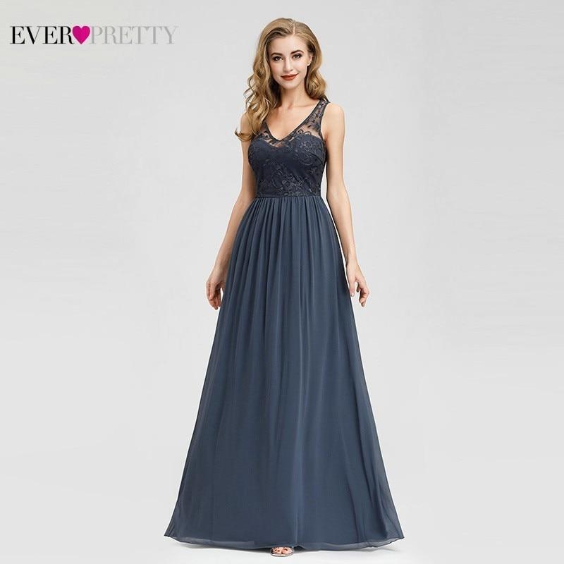 Elegant Lace   Evening     Dresses   2019 Ever Pretty EZ07999DN A-Line V-Neck Sleeveless Formal Long   Dresses   Abiye Vintage Party Gowns