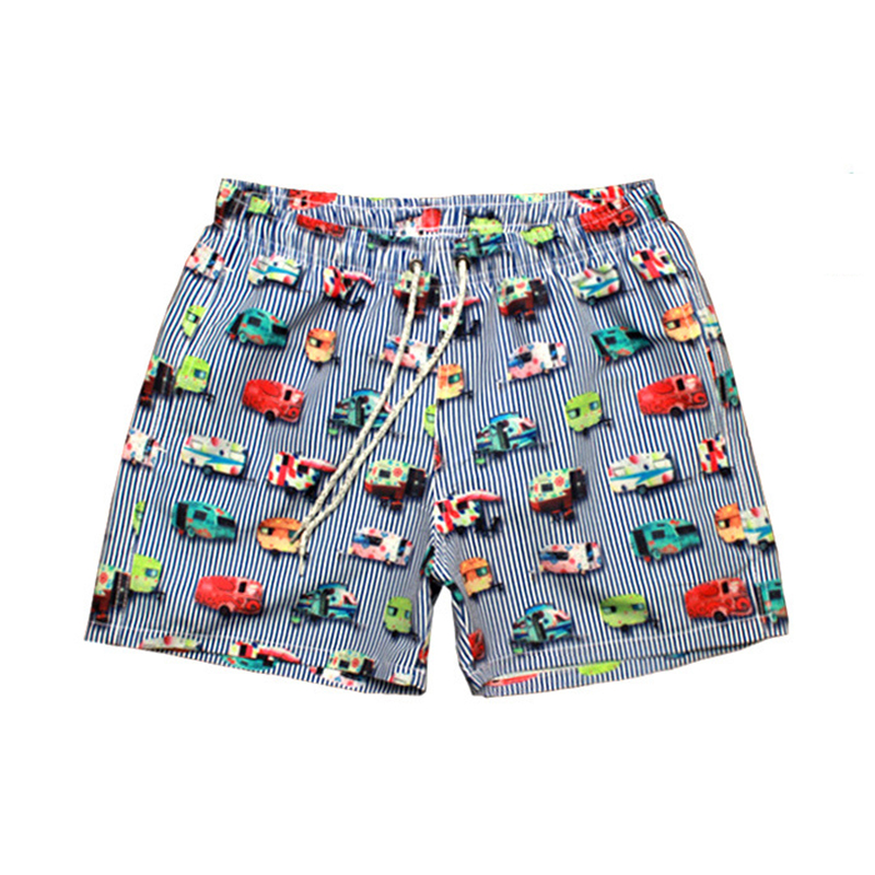 2019 Newest Men's Print   Board     Shorts   Quick Dry Beach   Shorts   Surfing Bermuda Beach Wear Striped Swim   Short   Men Boardshorts